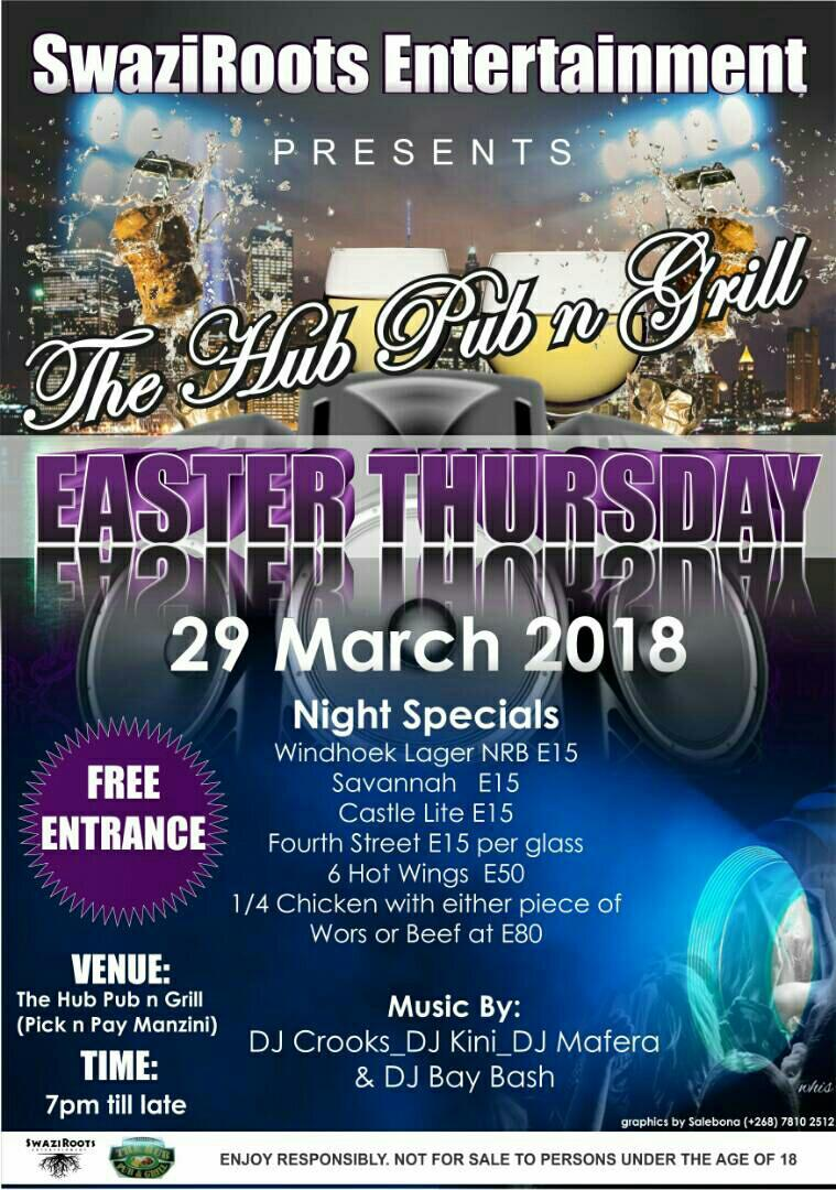 Pub N Grill Easter Thursday