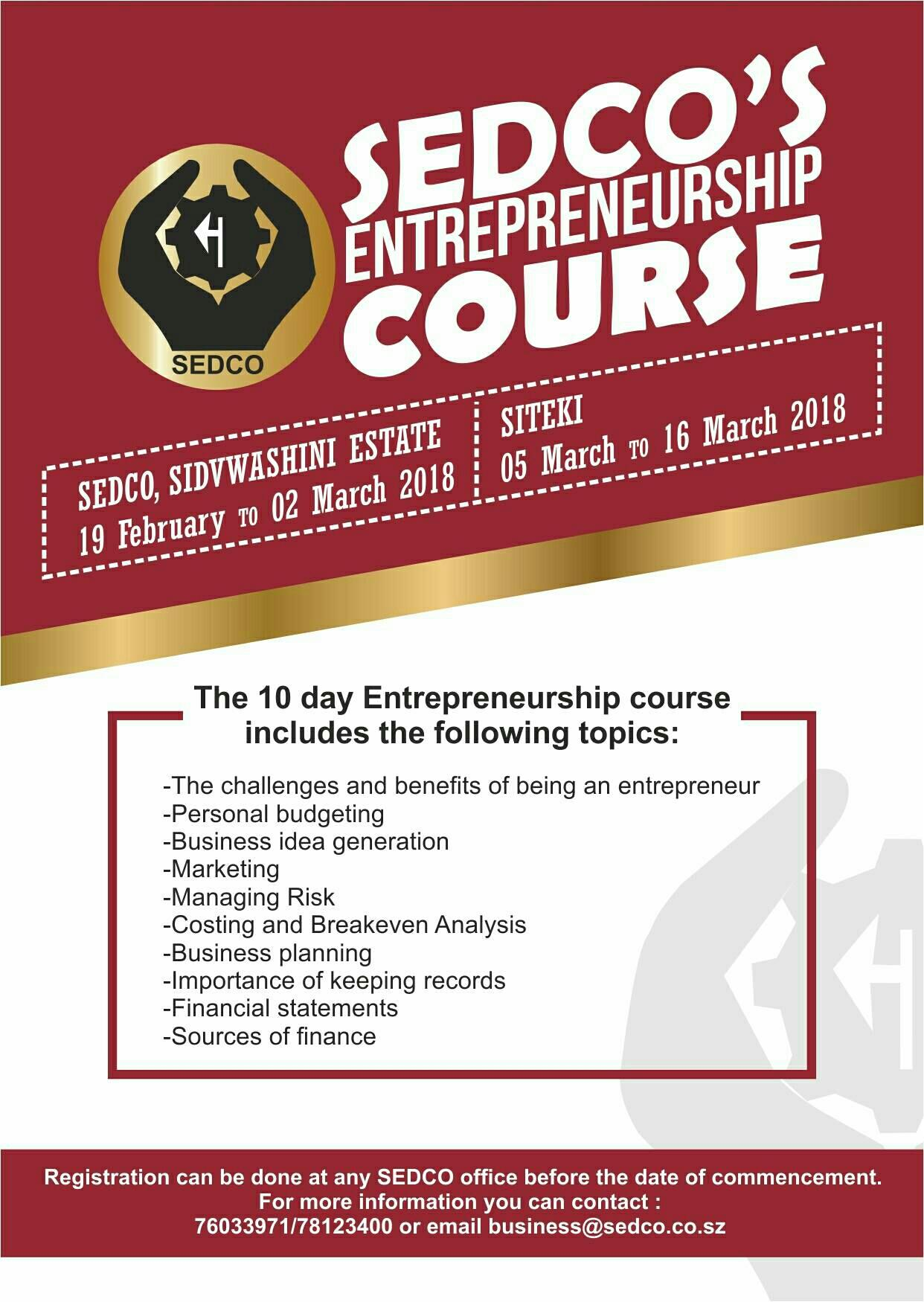 SEDCOs Entrepreneurship Course